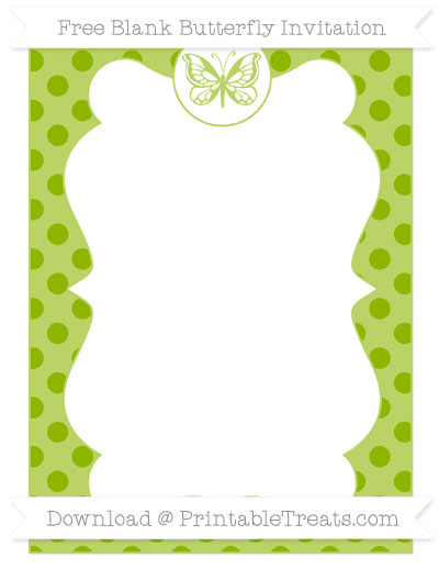 Free Apple Green Polka Dot Blank Butterfly Invitation