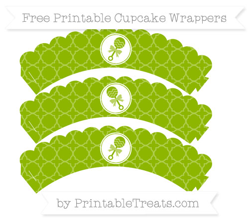 Free Apple Green Quatrefoil Pattern Baby Rattle Scalloped Cupcake Wrappers