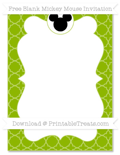 Free Apple Green Quatrefoil Pattern Blank Mickey Mouse Invitation