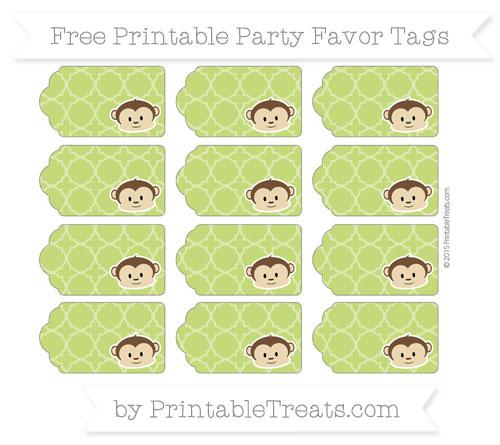 Free Apple Green Quatrefoil Pattern Boy Monkey Party Favor Tags