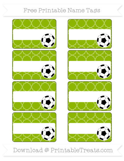 Free Apple Green Quatrefoil Pattern Soccer Name Tags