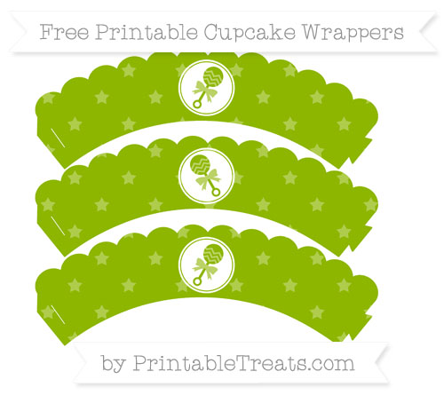 Free Apple Green Star Pattern Baby Rattle Scalloped Cupcake Wrappers