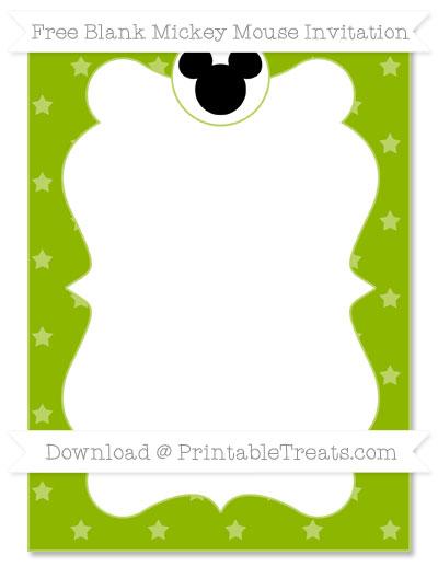 Free Apple Green Star Pattern Blank Mickey Mouse Invitation