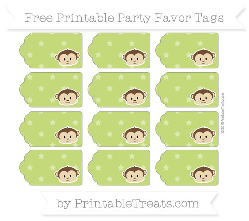 Free Apple Green Star Pattern Boy Monkey Party Favor Tags
