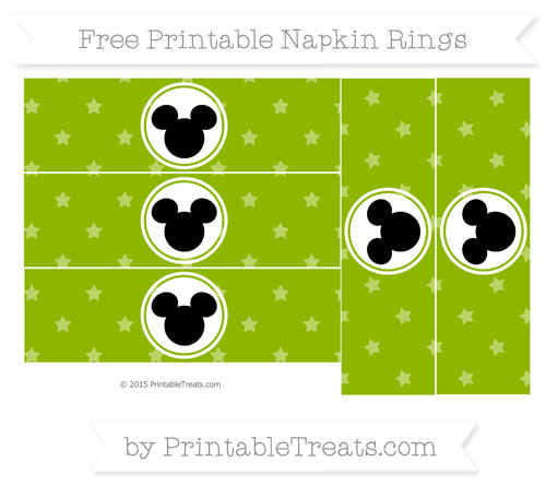 Free Apple Green Star Pattern Mickey Mouse Napkin Rings