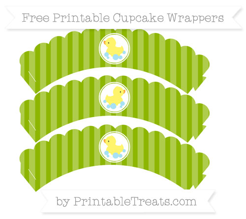 Free Apple Green Striped Baby Duck Scalloped Cupcake Wrappers