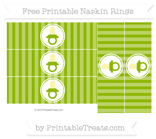 Free Apple Green Striped Baby Pacifier Napkin Rings