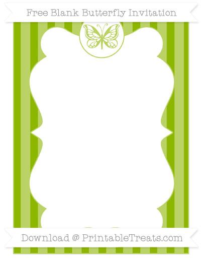 Free Apple Green Striped Blank Butterfly Invitation