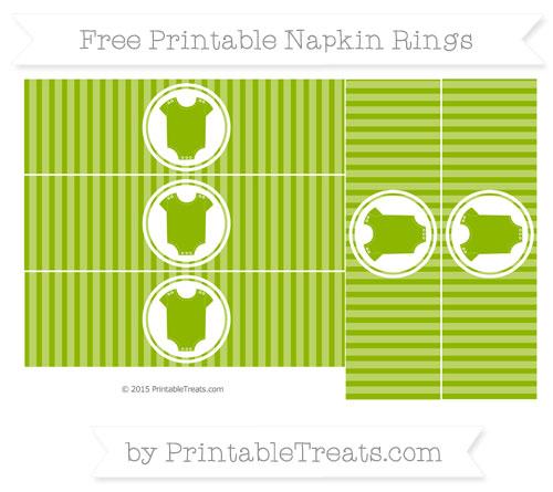 Free Apple Green Thin Striped Pattern Baby Onesie Napkin Rings