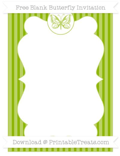 Free Apple Green Thin Striped Pattern Blank Butterfly Invitation