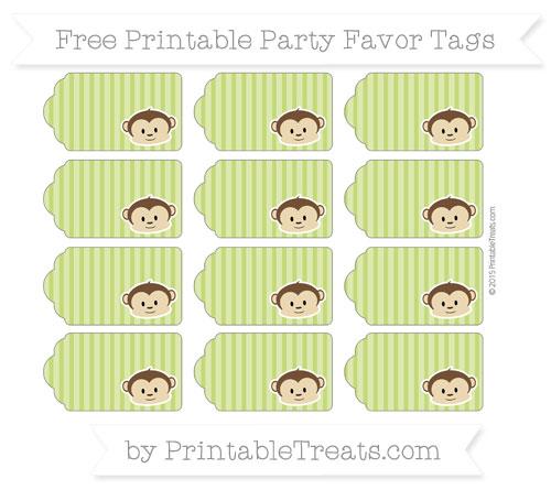 Free Apple Green Thin Striped Pattern Boy Monkey Party Favor Tags