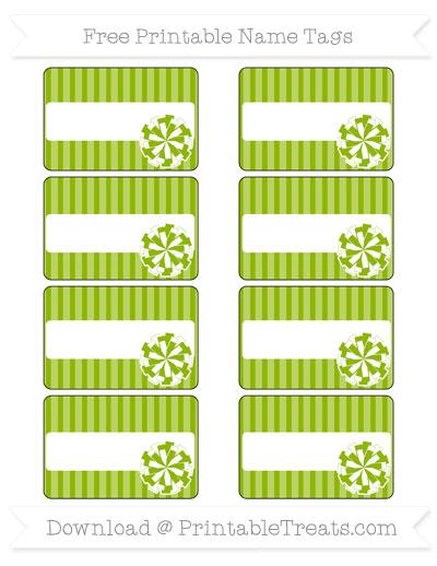Free Apple Green Thin Striped Pattern Cheer Pom Pom Tags