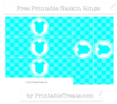 Free Aqua Blue Checker Pattern Baby Onesie Napkin Rings