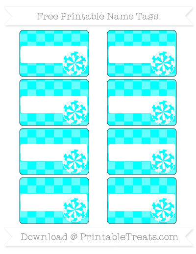 Free Aqua Blue Checker Pattern Cheer Pom Pom Tags