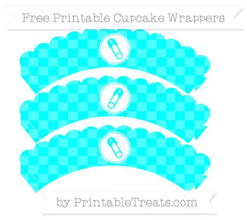 Free Aqua Blue Checker Pattern Diaper Pin Scalloped Cupcake Wrappers
