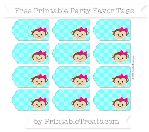 Free Aqua Blue Checker Pattern Girl Monkey Party Favor Tags