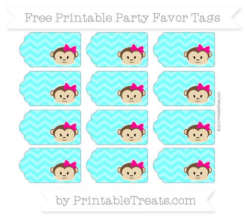 Free Aqua Blue Chevron Girl Monkey Party Favor Tags