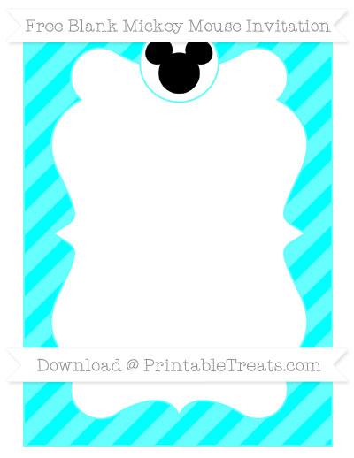 Free Aqua Blue Diagonal Striped Blank Mickey Mouse Invitation