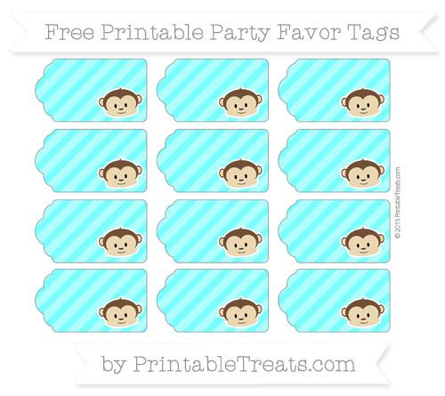 Free Aqua Blue Diagonal Striped Boy Monkey Party Favor Tags