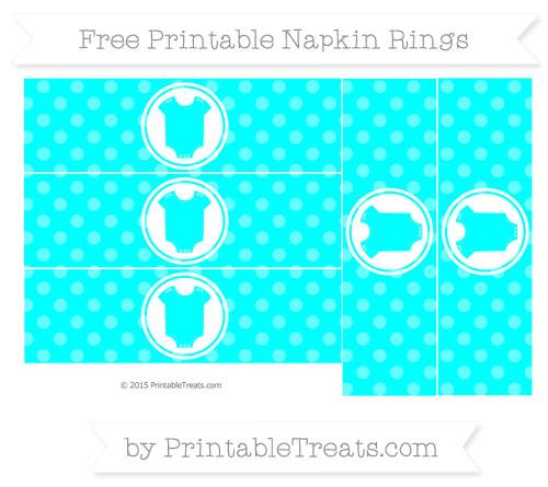 Free Aqua Blue Dotted Pattern Baby Onesie Napkin Rings