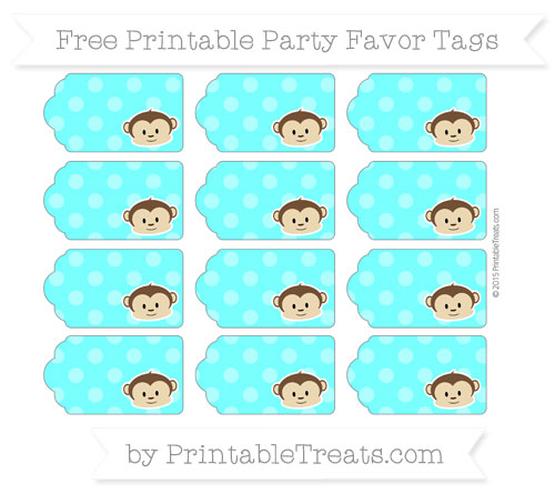 Free Aqua Blue Dotted Pattern Boy Monkey Party Favor Tags