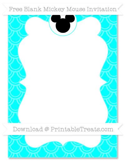 Free Aqua Blue Fish Scale Pattern Blank Mickey Mouse Invitation