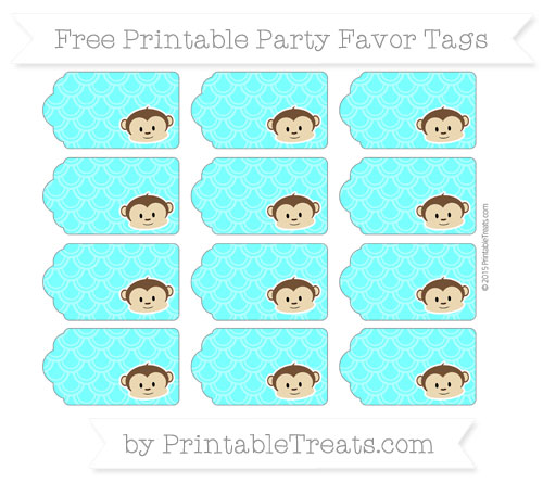 Free Aqua Blue Fish Scale Pattern Boy Monkey Party Favor Tags
