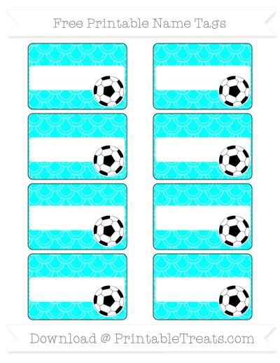 Free Aqua Blue Fish Scale Pattern Soccer Name Tags