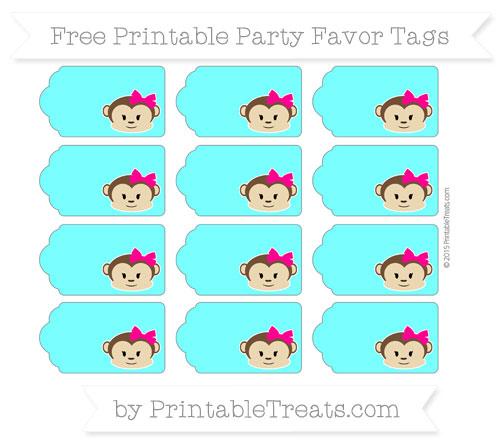 Free Aqua Blue Girl Monkey Party Favor Tags