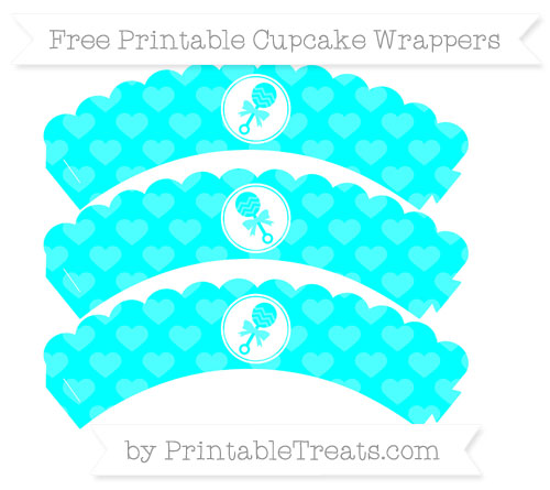Free Aqua Blue Heart Pattern Baby Rattle Scalloped Cupcake Wrappers
