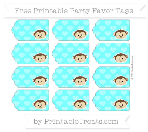 Free Aqua Blue Heart Pattern Boy Monkey Party Favor Tags
