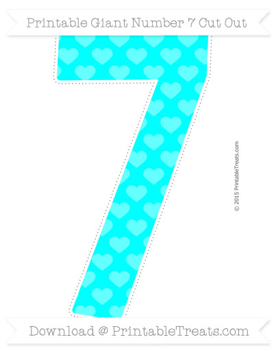 Free Aqua Blue Heart Pattern Giant Number 7 Cut Out