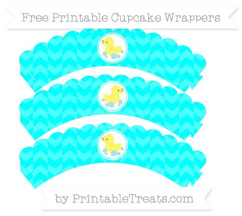 Free Aqua Blue Herringbone Pattern Baby Duck Scalloped Cupcake Wrappers