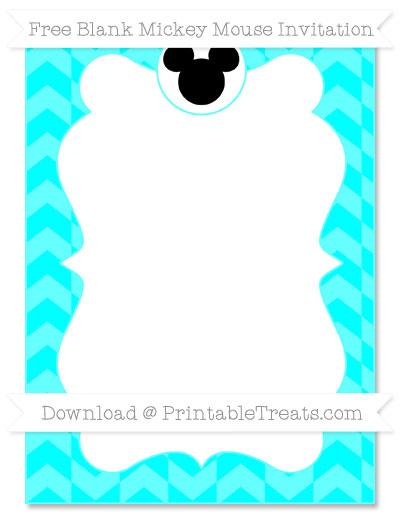 Free Aqua Blue Herringbone Pattern Blank Mickey Mouse Invitation