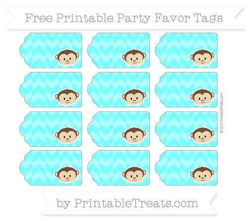 Free Aqua Blue Herringbone Pattern Boy Monkey Party Favor Tags