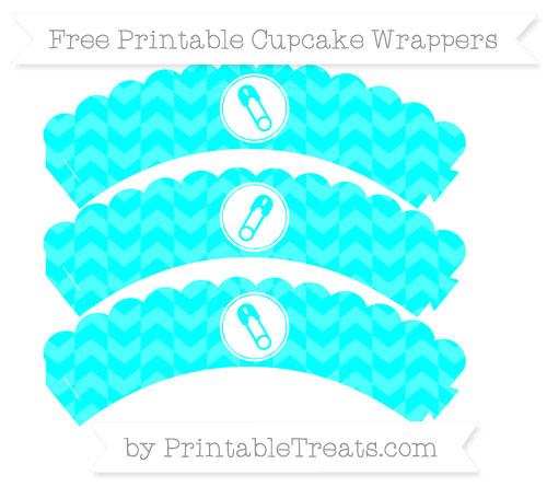 Free Aqua Blue Herringbone Pattern Diaper Pin Scalloped Cupcake Wrappers
