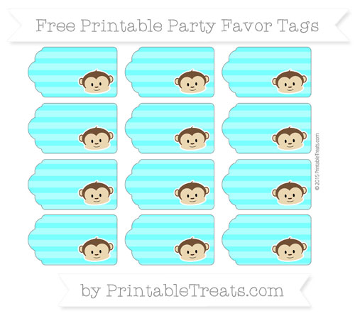 Free Aqua Blue Horizontal Striped Boy Monkey Party Favor Tags