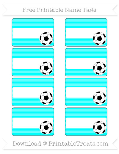 Free Aqua Blue Horizontal Striped Soccer Name Tags