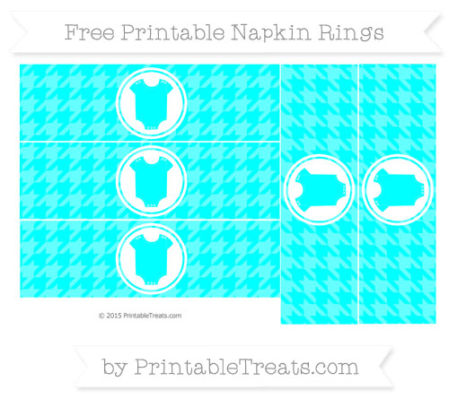 Free Aqua Blue Houndstooth Pattern Baby Onesie Napkin Rings