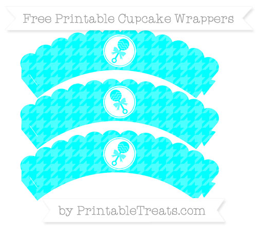 Free Aqua Blue Houndstooth Pattern Baby Rattle Scalloped Cupcake Wrappers