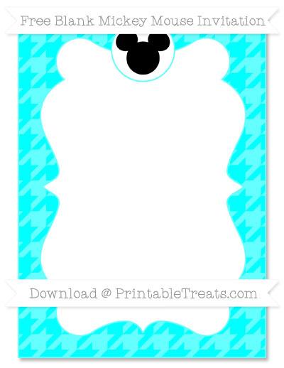Free Aqua Blue Houndstooth Pattern Blank Mickey Mouse Invitation