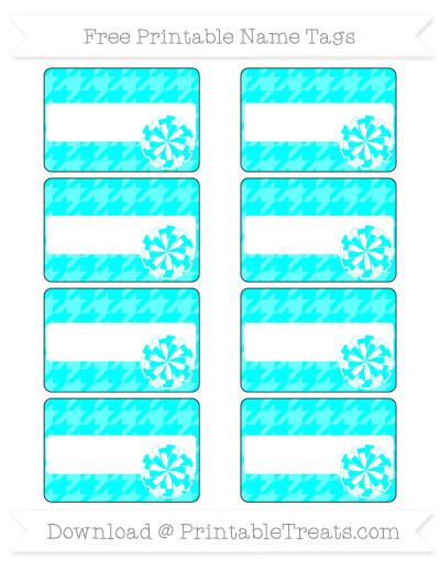 Free Aqua Blue Houndstooth Pattern Cheer Pom Pom Tags