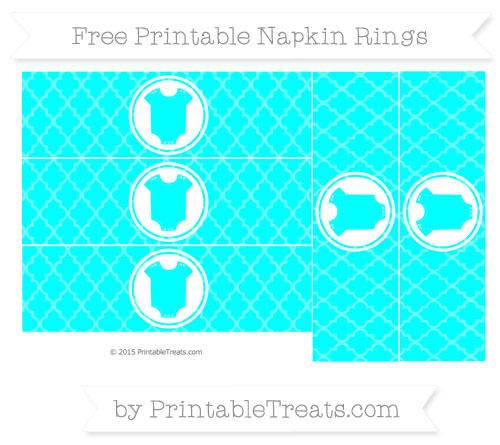 Free Aqua Blue Moroccan Tile Baby Onesie Napkin Rings