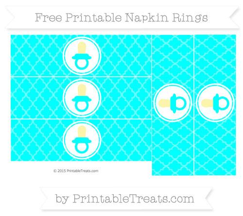 Free Aqua Blue Moroccan Tile Baby Pacifier Napkin Rings