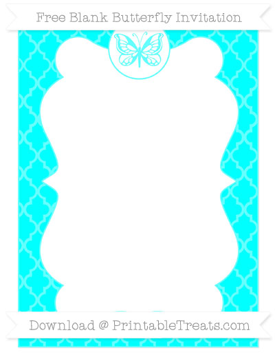 Free Aqua Blue Moroccan Tile Blank Butterfly Invitation