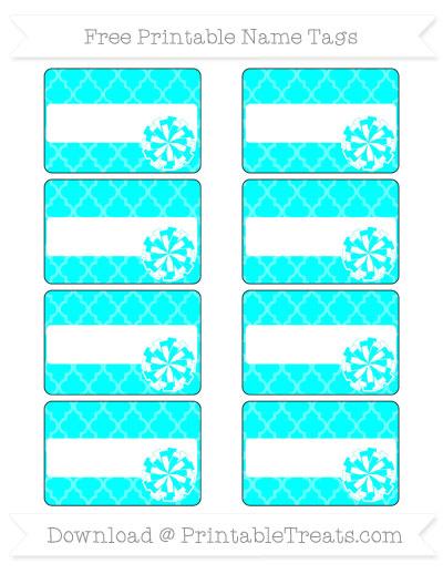 Free Aqua Blue Moroccan Tile Cheer Pom Pom Tags