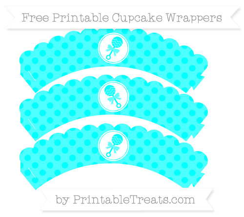 Free Aqua Blue Polka Dot Baby Rattle Scalloped Cupcake Wrappers