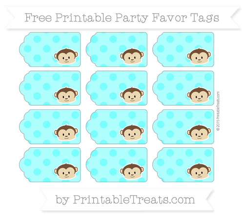 Free Aqua Blue Polka Dot Boy Monkey Party Favor Tags