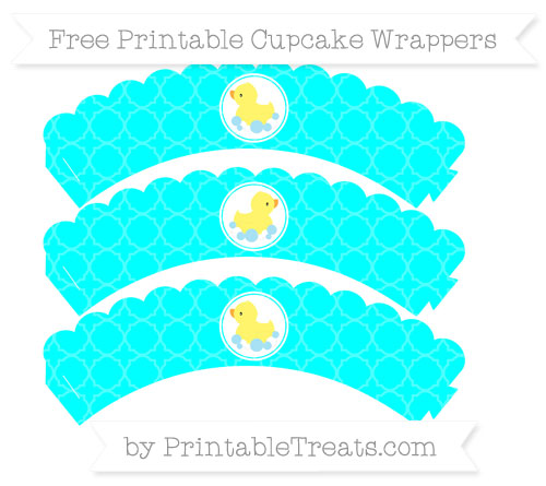 Free Aqua Blue Quatrefoil Pattern Baby Duck Scalloped Cupcake Wrappers