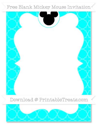 Free Aqua Blue Quatrefoil Pattern Blank Mickey Mouse Invitation